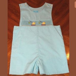 Claire & Charlie Hand smocked shortalls 3T